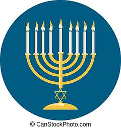 Menora For Hanukkah Celebration - Menora or menorah with...