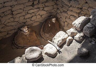 Chauchilla Cemetery with prehispanic mummies in Nazca...