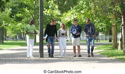 Group of students with notebook on footpath outdoor go along...