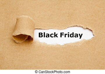 Black Friday Torn Paper Concept - The text Black Friday...