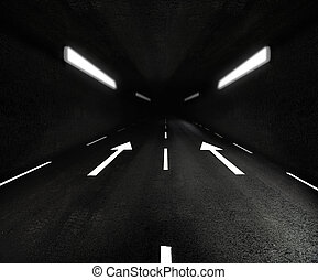 Road tunnel with lights and arrow signs on asphalt