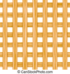 Seamless wooden lattice isolated on white background.