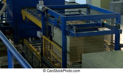 Machine for production of sandwich panels, close-up