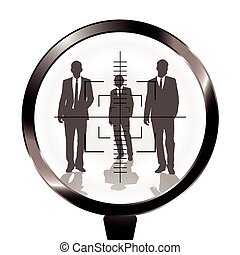 business men rifle target - Three businessmen in a gun sight...