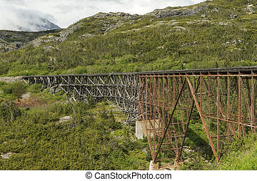 The White Pass and Yukon Route Railroad Bridge. The railroad...