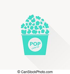 Vector pop corn icon - Vector green pop corn icon on white...