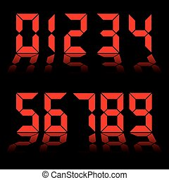 digital numbers clock red