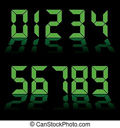 digital numbers clock - one to nine digital numbers in green...