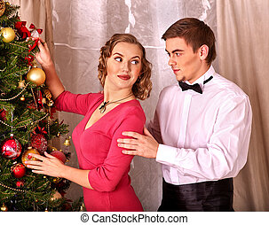 Couple on Christmas party.  Vintage style.