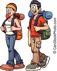 Hiker couple - Young couple walking. Vector clip art...
