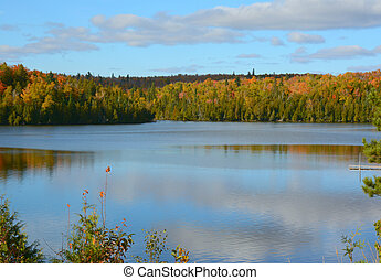 Picturesque Nine Mile Lake - MN - Autumn vista on...