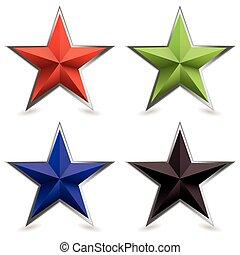 metall, avfasa, stjärna, form