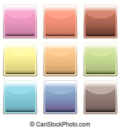 subtle square plastic web icon - Subtle rainbow collection...