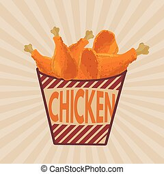 Fried chicken legs on striped box retro poster in vintage...