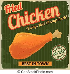 Fried chicken retro poster in vintage style, vector...