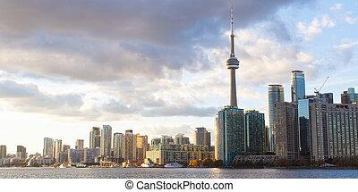 toronto skyline - panorama of toronto downtown skyline at...