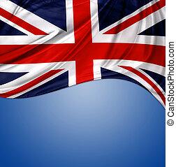 Union Jack flag on blue background