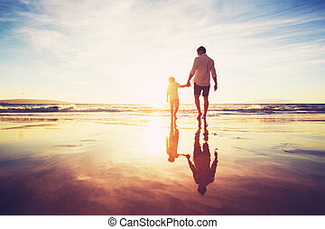 Father and Son Walking Together Holding Hands - Father and...