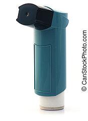 Blue asthma Inhaler  - Asthma inhaler on white background