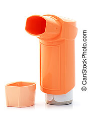Orange asthma Inhaler and a hood - Asthma inhaler on white...
