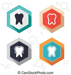 Tooth enamel protection icons Dental care signs - Hexagon...