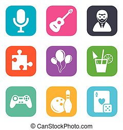 Game, bowling and puzzle icons. Entertainment. - Game,...
