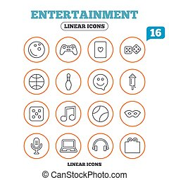 Entertainment icons. Game joystick, microphone. -...