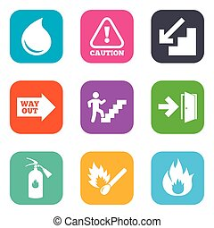 Fire safety, emergency icons Extinguisher sign - Fire...