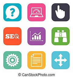 Internet, seo icons. Analysis chart sign.