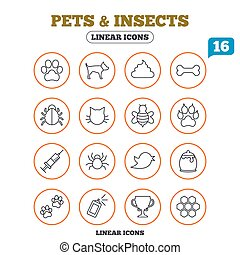 Pets and Insect icon Dog, Cat paw with clutches - Pets and...