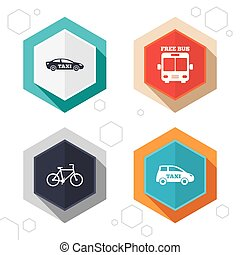 Public transport icons Free bus, bicycle signs - Hexagon...