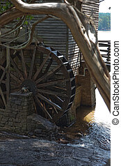 Wooden mill wheel - Wooden grist mill water wheel