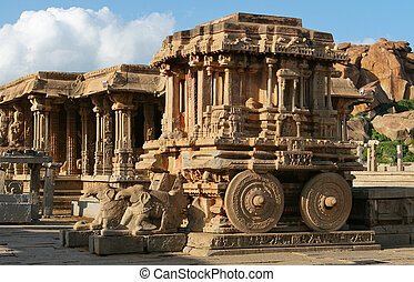 Stone chariot. Vittala temple. Hampi - UNESCO World Heritage...