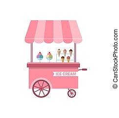 Icon of Stand of Ice Creams, Sweet Cart Isolated on White...