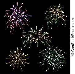 Collection five holiday Fireworks colourful set - vector