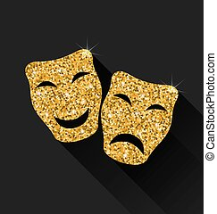 Comedy and Tragedy Masks - Illustration Comedy and Tragedy...