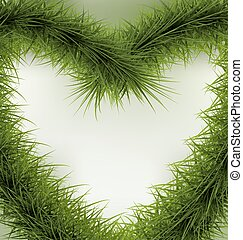 Christmas Background heart shaped wreath, space for text -...