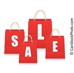 Set of Red Empty Shopping Bags Isolated