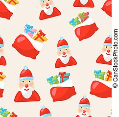 Christmas Seamless Texture with Santa Claus and Bag of Gifts