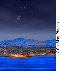Roosevelt lake Arizona Moonrise - Moonrise and stars over...