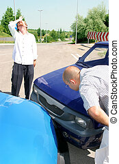 accident cars - accident two cars, two mans looks at vehicle