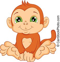 cute baby monkey cartoon - vector illustration of cute baby...