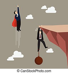 Businessman superhero fly pass businessman hold on the cliff with burden