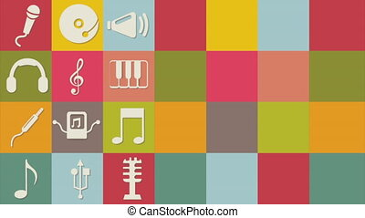 Musical icons design, Video Animation HD1080