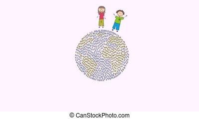 Children around the world, Video Animation HD1080
