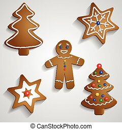 Ginger bread man tree and stars with decorations