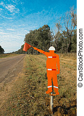 Roadworks sign - Small country road with an original sign...