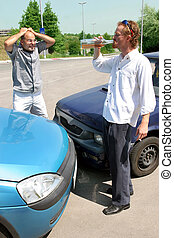 accident cars - accident two cars, angry businessman and...