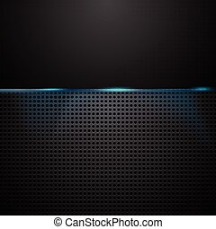Dark perforated background with blue glow light