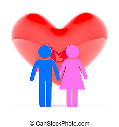 Family love concept - Couple holding hands and heart shape,...